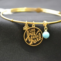GOLD TONE LIVE FREE, RIDE HARD BANGLE
