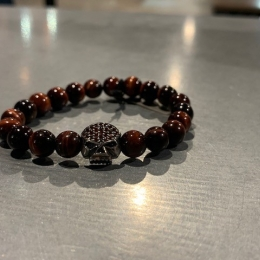 SILVER BRACELET WITH RED TIGER EYE GARNET ZIRCONIUM