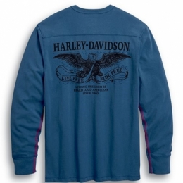 HENLEY-KNIT,BLUE