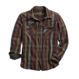 SHIRT-L/S,LOGO,OVER DYED,PLAID