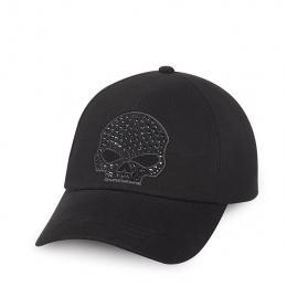 CAP-SKULL,W/BLK STONES,BLK