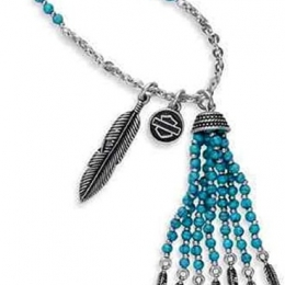 NECKLACE-BEAD,CHARM,TURQUOISE