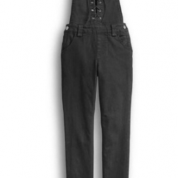 OVERALLS-LACE UP,WVN,BLK