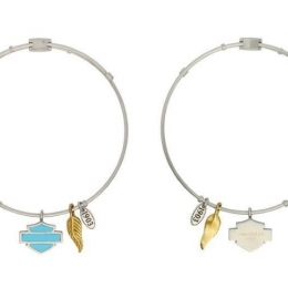 TURQUOISE B&S & FEATHER CHARM BANGLE
