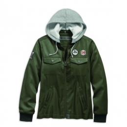 JACKET-BOMBER,HOODED,CTTN,GRN