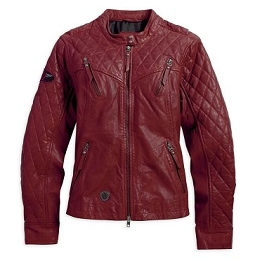 JKT-LEATHER,QUILTED,RED PROMO SIZE L