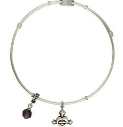 HEART 1 CROSS CHARM BANGLE